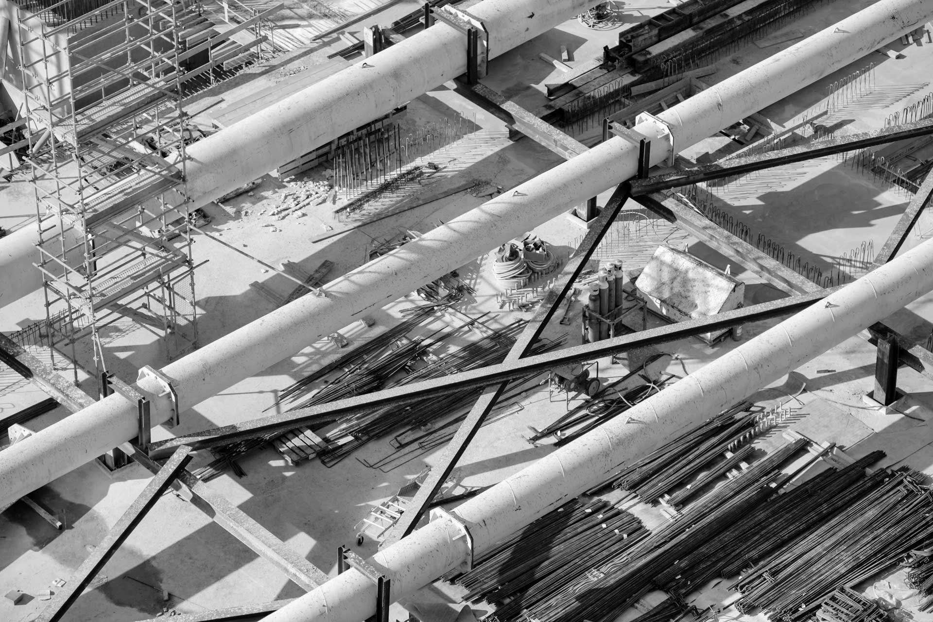 overhead view of pipes under construction
